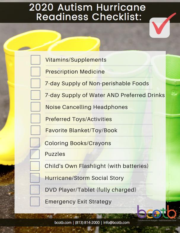 autism hurricane readiness checklist